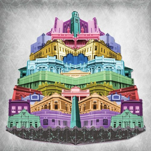 Colour Me Perth by Sioux Tempestt, digital montage from her Chronicle series, celebrates the heritage architecture of Perth.