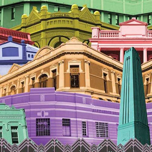 """""""Colour Me Perth"""" by Sioux Tempestt, digital montage from her Chronicle series, celebrates the heritage architecture of Perth."""