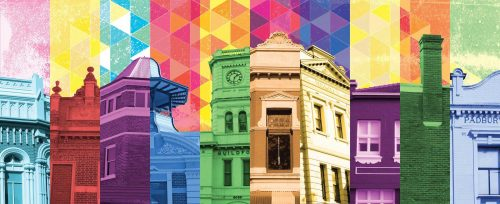 Perth Colour Pop by Sioux Tempestt, digital montage from her Chronicle series, celebrates the heritage architecture of Perth.